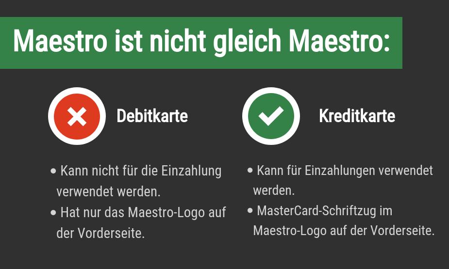 Maestro Debit vs Kreditkarte