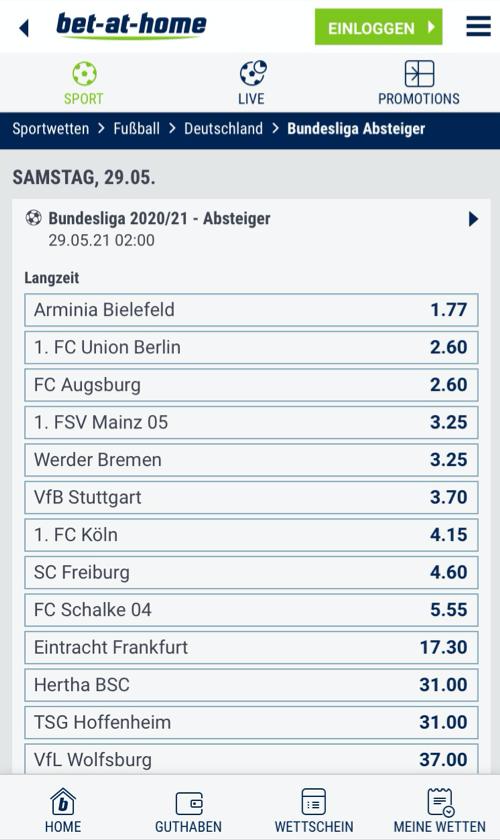 Bundesliga Absteiger Wetten