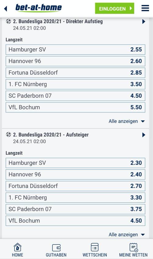 2. Bundesliga Wetten bet-at-home Screenshot