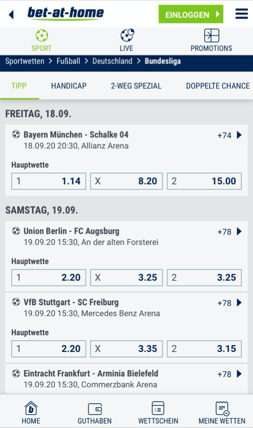 bet-at-home Bundesliga Wetten Screenshot