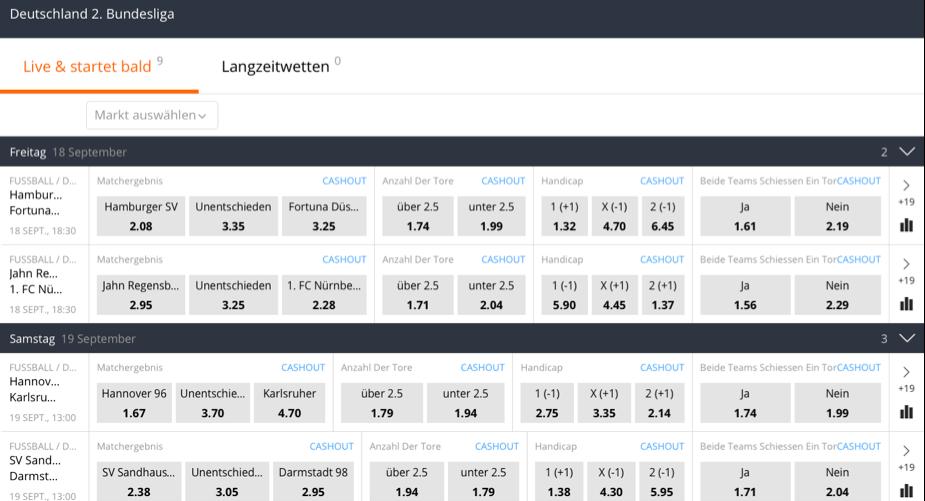 betsson Screenshot 2. Bundesliga Wetten