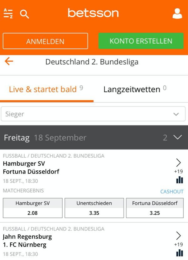 2. Bundesliga Wetten Screenshot betsson