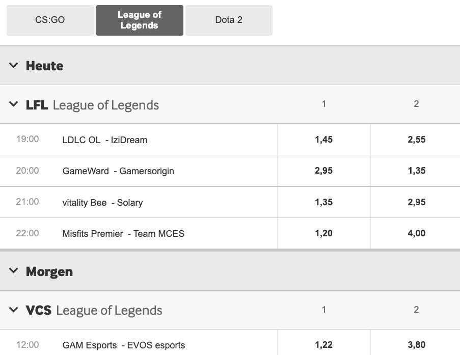 League of Legends Wettprogramm