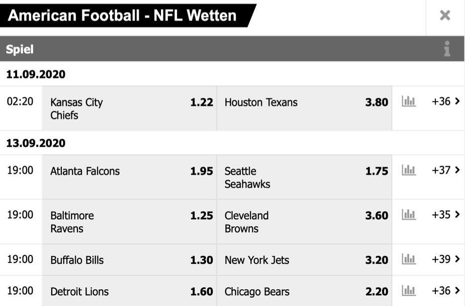 NFL Wetten Wettprogramm