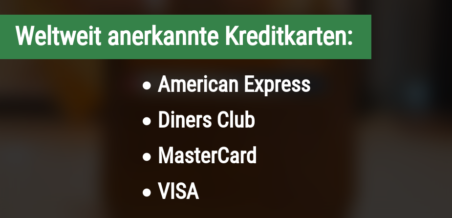Weltweit anerkannte Kreditkarten