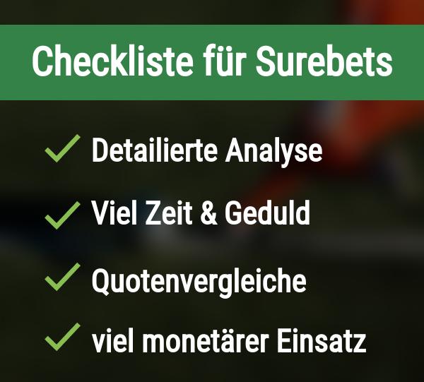 Checkliste für Surebets