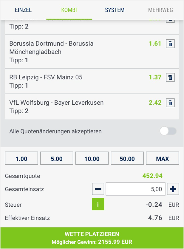 Kombiwetten bei bet-at-home