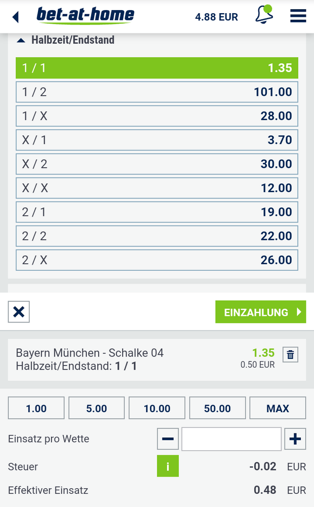 Halbzeit Endstand bei bet-at-home