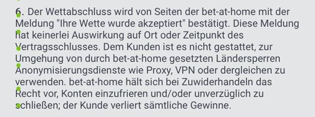 Die AGB von bet-at-home verbieten VPN.