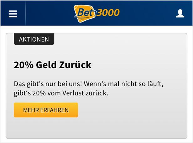 Cashback Bonus von Bet3000