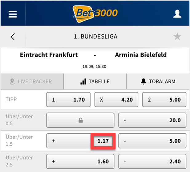 over/under bei Bet3000