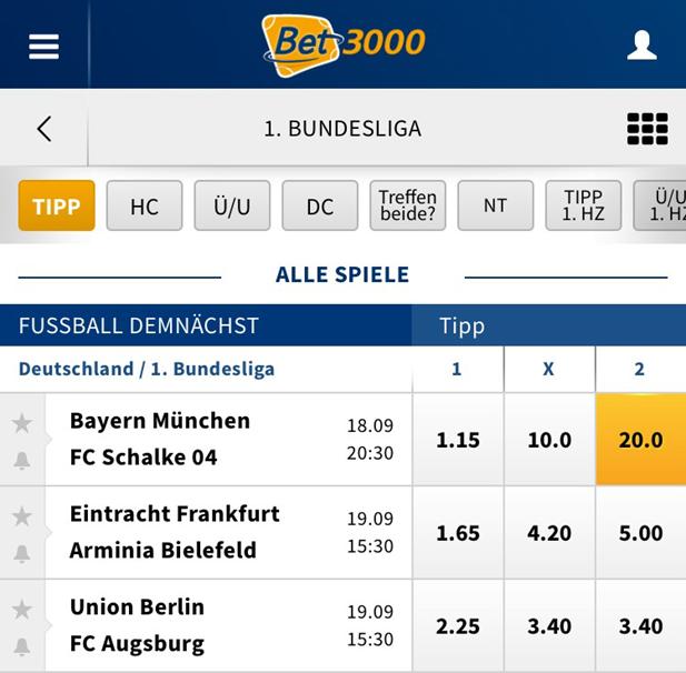 Bundesliga-Wette bei Bet3000