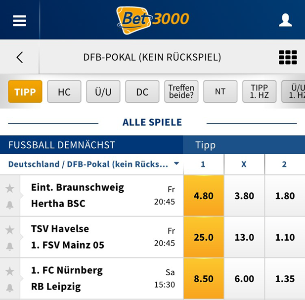 Quoten bei Bet3000 für DFB-Pokal.