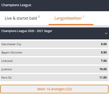 Champions League Sieger Wetten bei betsson