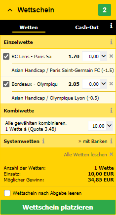 Asian handicap bei Interwetten