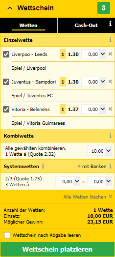 Favoritenkombi bei Interwetten