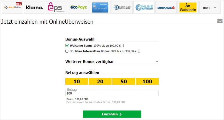 Bei Interwetten gibt's den Bonus auch bei Zahlungen via Onlineüberweisen