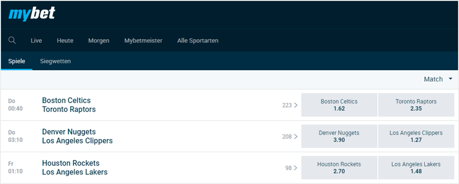 Basketball bei mybet