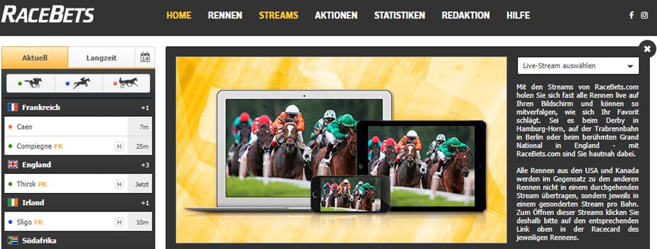 Racebets bietet auch Livestreams an.