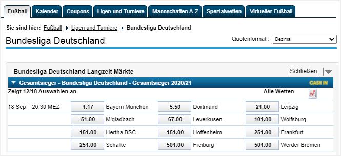 Langzeitwetten auf die Bundesliga bei William Hill.