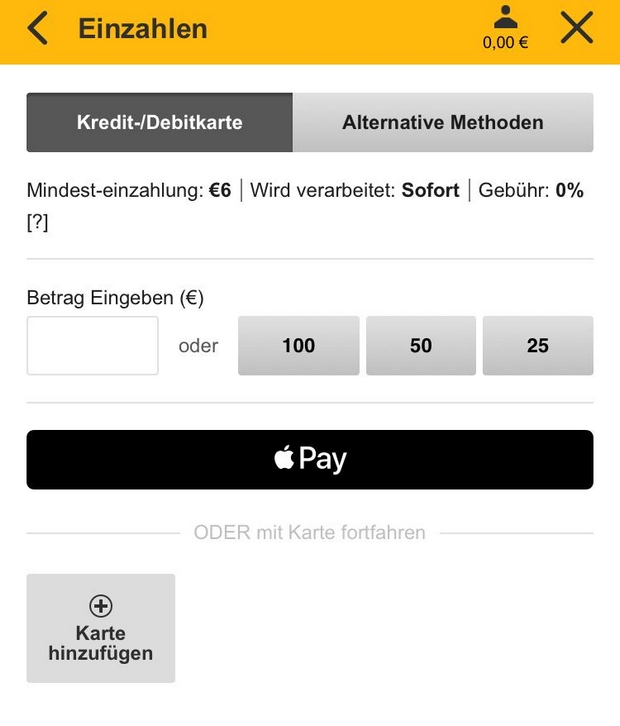 Apple Pay bei betfair