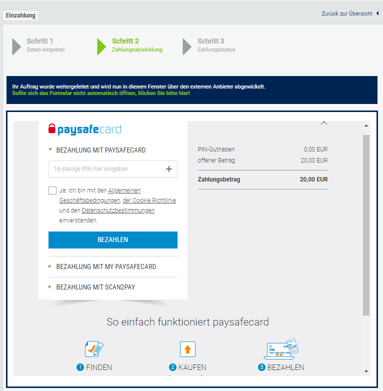 Einzahlung mit paysafecard bei bet-at-home