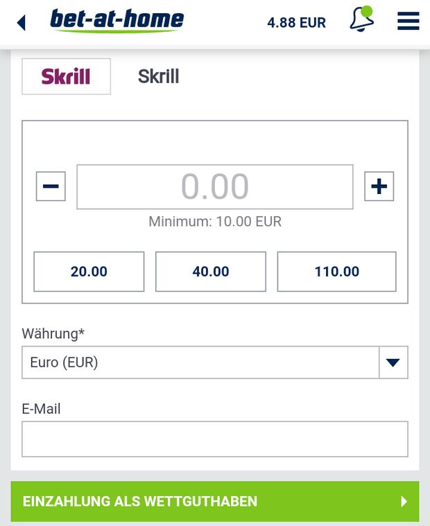 Einzahlung mit Skrill bei Interwetten