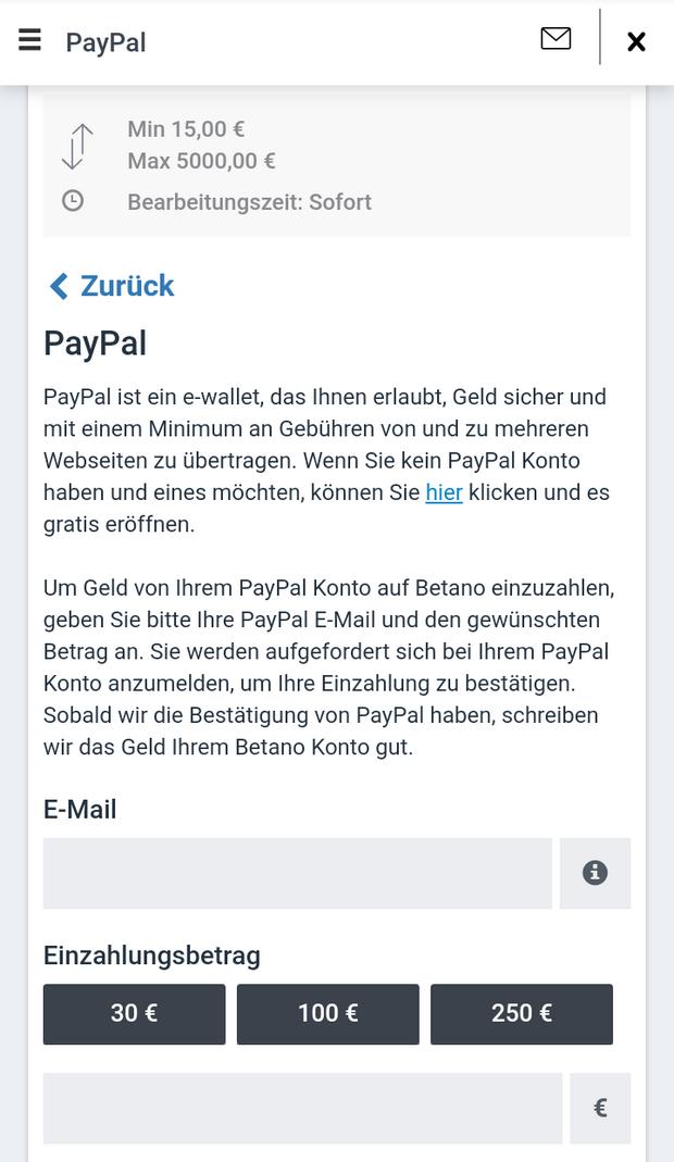 PayPal Einzahlung beim Wettanbieter betano
