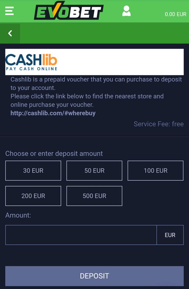 CashLib Einzahlung bei evobet