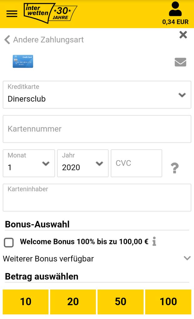 Interwetten Einzahlung mit Diners Club
