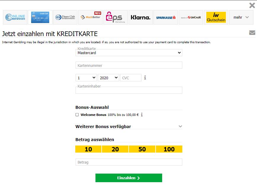 Einzahlung mit Mastercard bei Interwetten