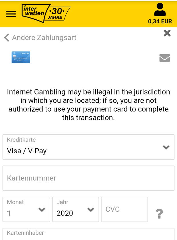 Einzahlung mit Visa bei Interwetten
