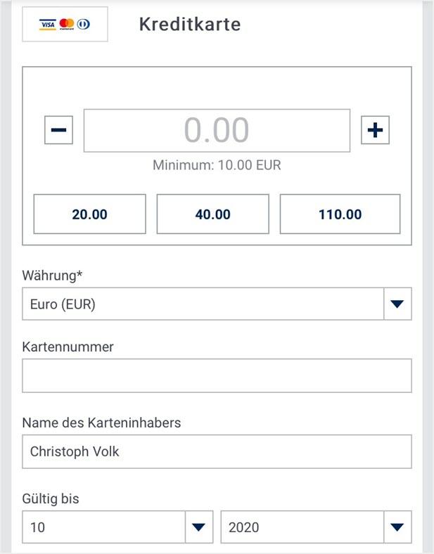 Kreditkarten-Einzahlung bei bet-at-home