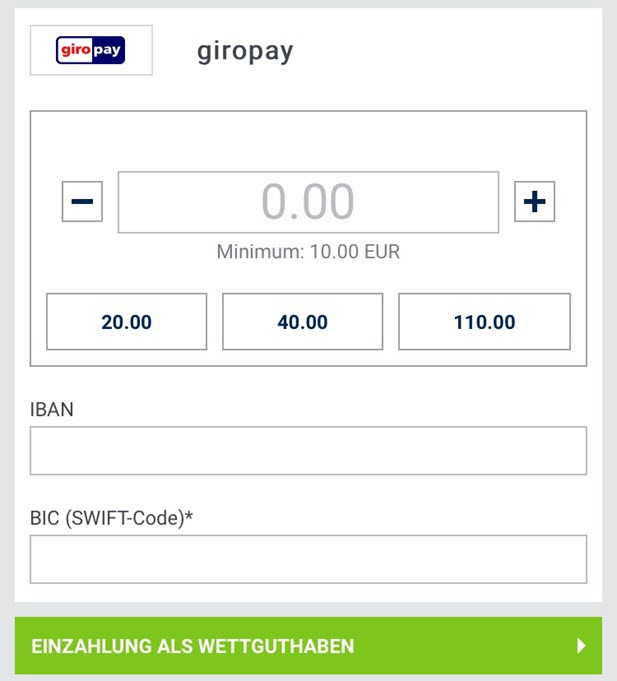 giropay Einzahlung bei bet-at-home