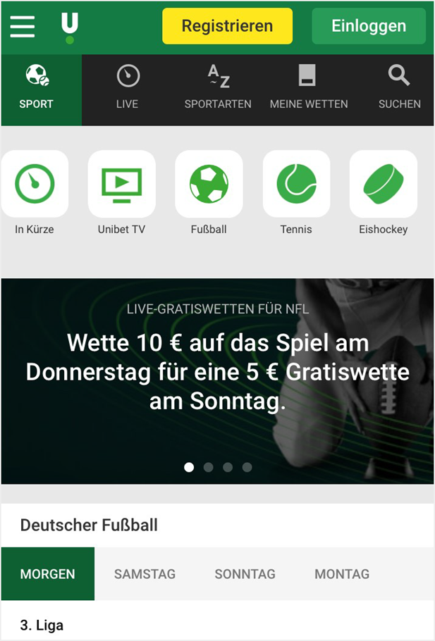 Unibet Startseite