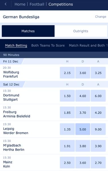 Bundesliga Wetten bei William Hill